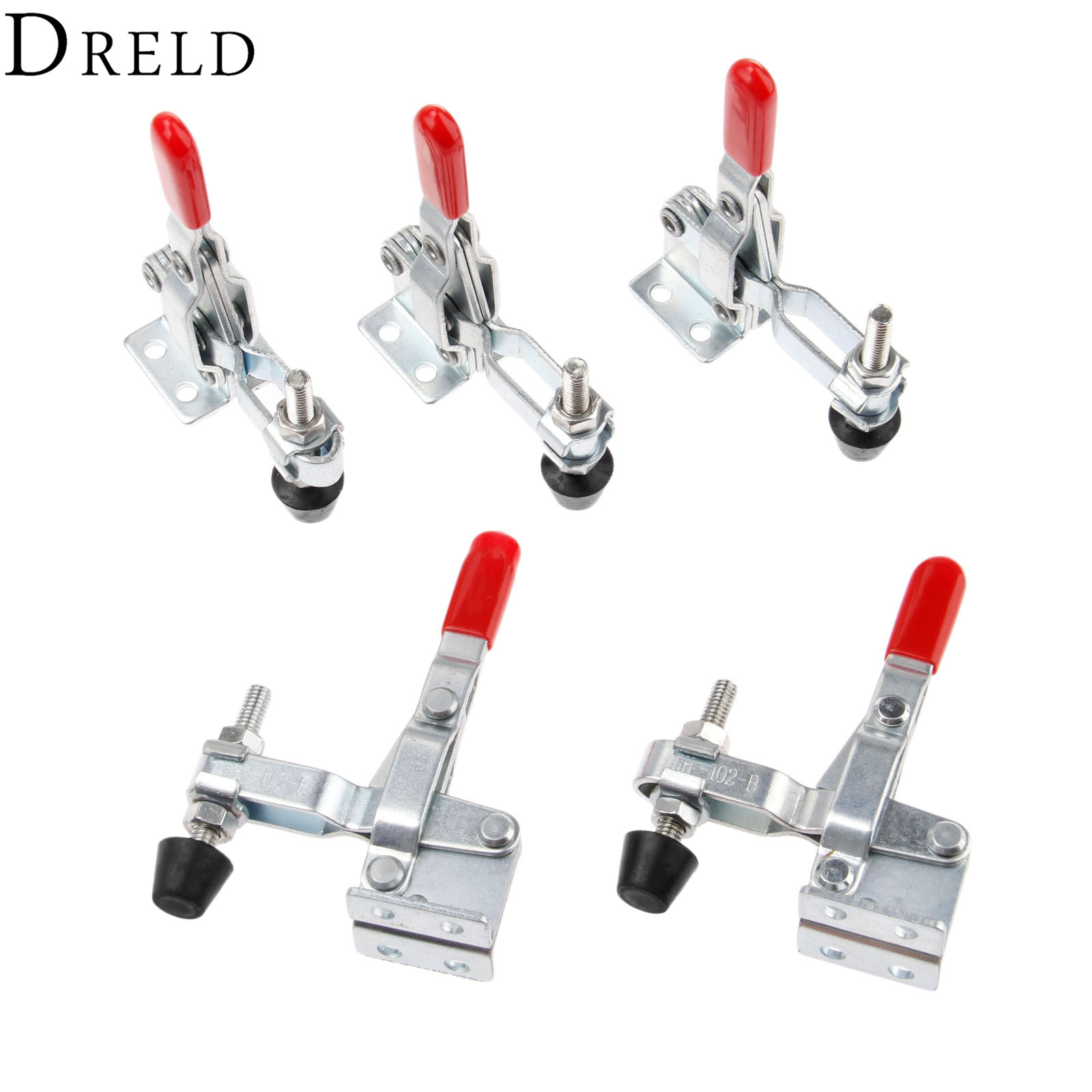DRELD 5pcs GH-102-B Vertical Toggle Clamps Tool 100Kg/ 220 Lbs Holding Capacity Quick Release Fixture Toggle Clamp for Hand Tool