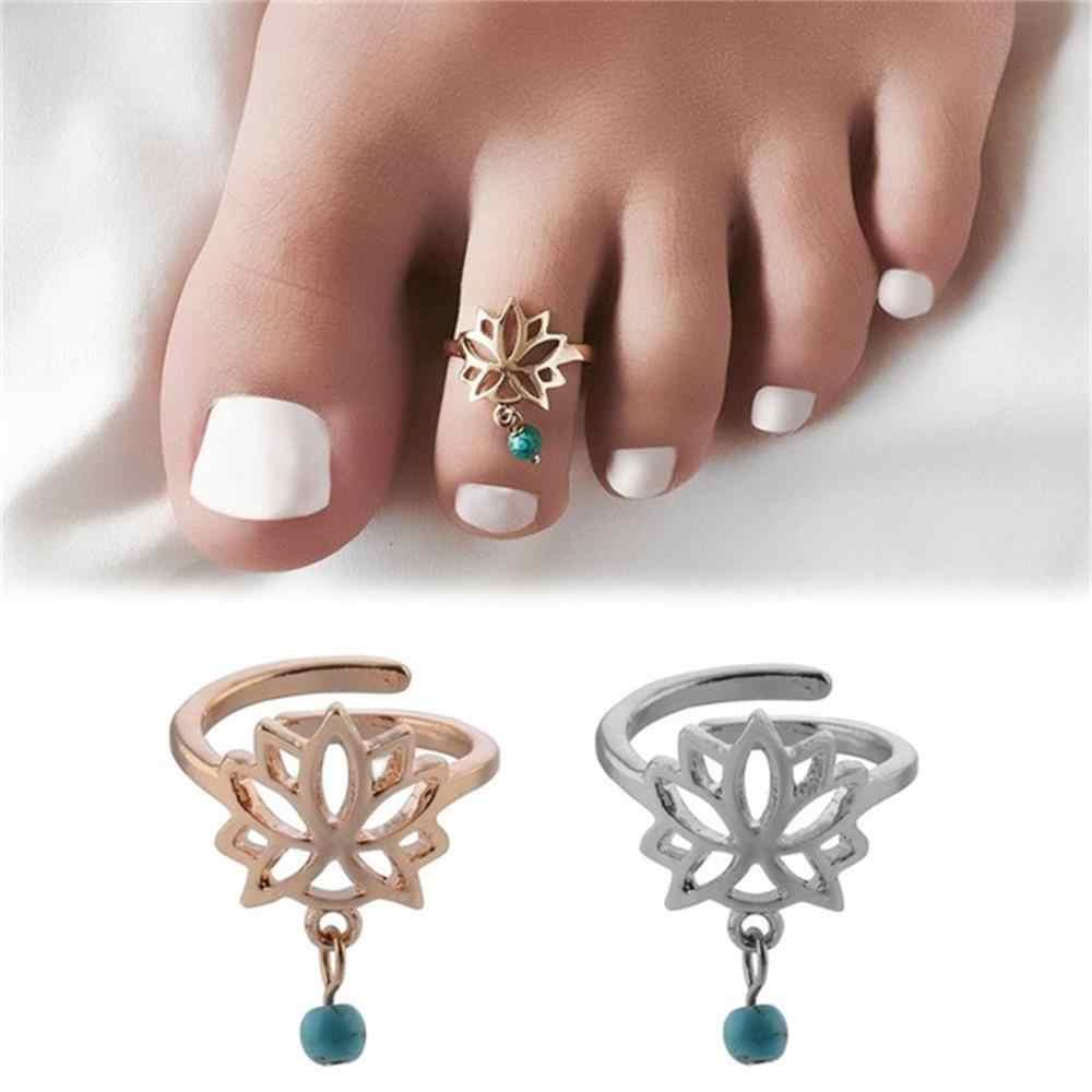 1pc Bohemian Charm Lotus ดอกไม้แกะสลักปรับแหวนเปิดเท้าแหวนนิ้วมือเครื่องประดับอุปกรณ์เสริมของขวัญ