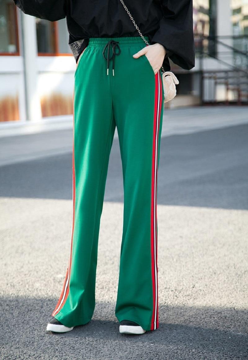 2018 осенне зимние модные дизайнерские штаны с высокой талией, в полоску, широкие штаны, однотонные, черные, белые, зеленые, размер XS 2XL, длинные брюки - 2