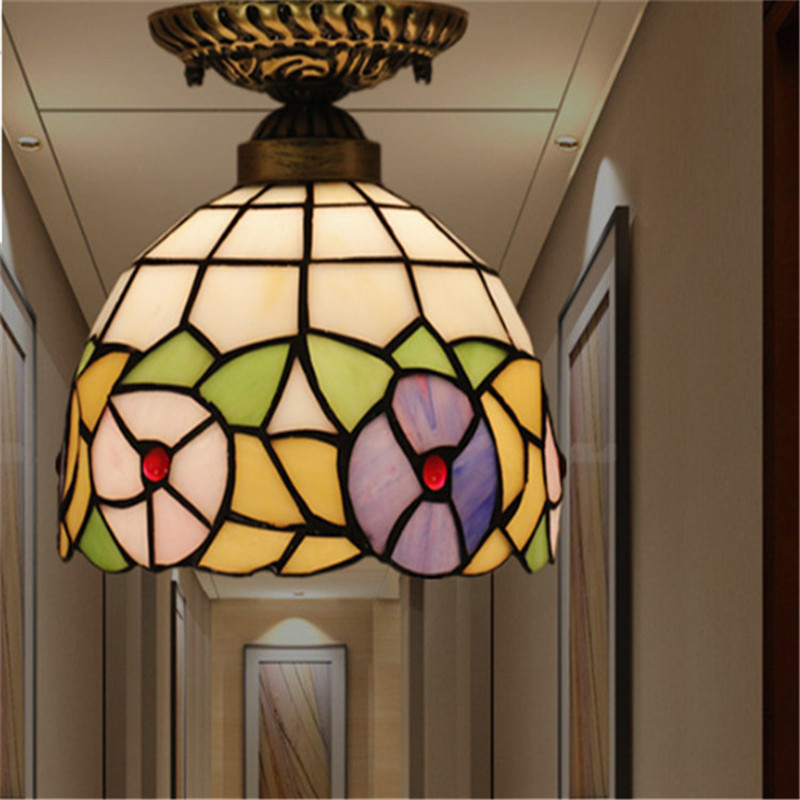 ФОТО Tiffany ceiling lamp ,American,European Baroque,Med ,Bohemia surface mounted tiffany light ,20cm mixcolor ceil lampTFC-018-20CM