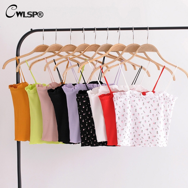 CWLSP Candy Colors Knitted Ribbed Crop   Tops   Ruffles Ruched Tee Sexy Summer Women Elastic Kawaii   Tank     Top   Cropped Feminino QL3690