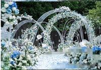 Wedding shaped iron arch. Stage layout props T round arch door. Wedding background decoration door decoration.