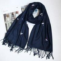 Для женщин Тонкий кашемировый шарф Фламинго Вышивка шаль Однотонная одежда Ленточки теплые зимние мягкие Шарфы для женщин новый [2126]