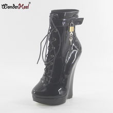 Wonderheel new patent leather extreme high heel 18cm heel with 3cm platform wedge ankle boots locked padlocks women sexy boots(China)