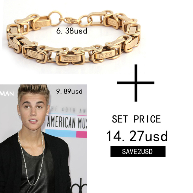 Braveman 2017 New Necklace Bracelets Set Jewelry Justin Bieber Long Chain Gold Plated