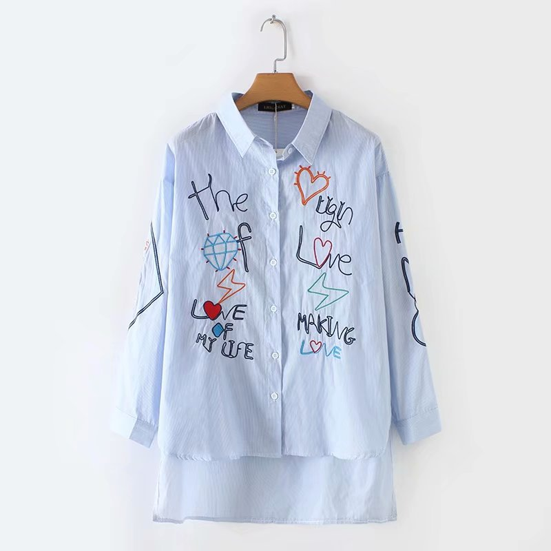 Plus Size Sky-blue Graffiti Embroidery Cotton Women Blouse 2019 Spring Autumn Ladies Long Sleeve Loose Shirts Female Tops