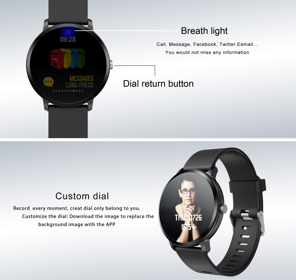 Sport watch smart tempered glass, waterproof, Android IOS Custom Dial
