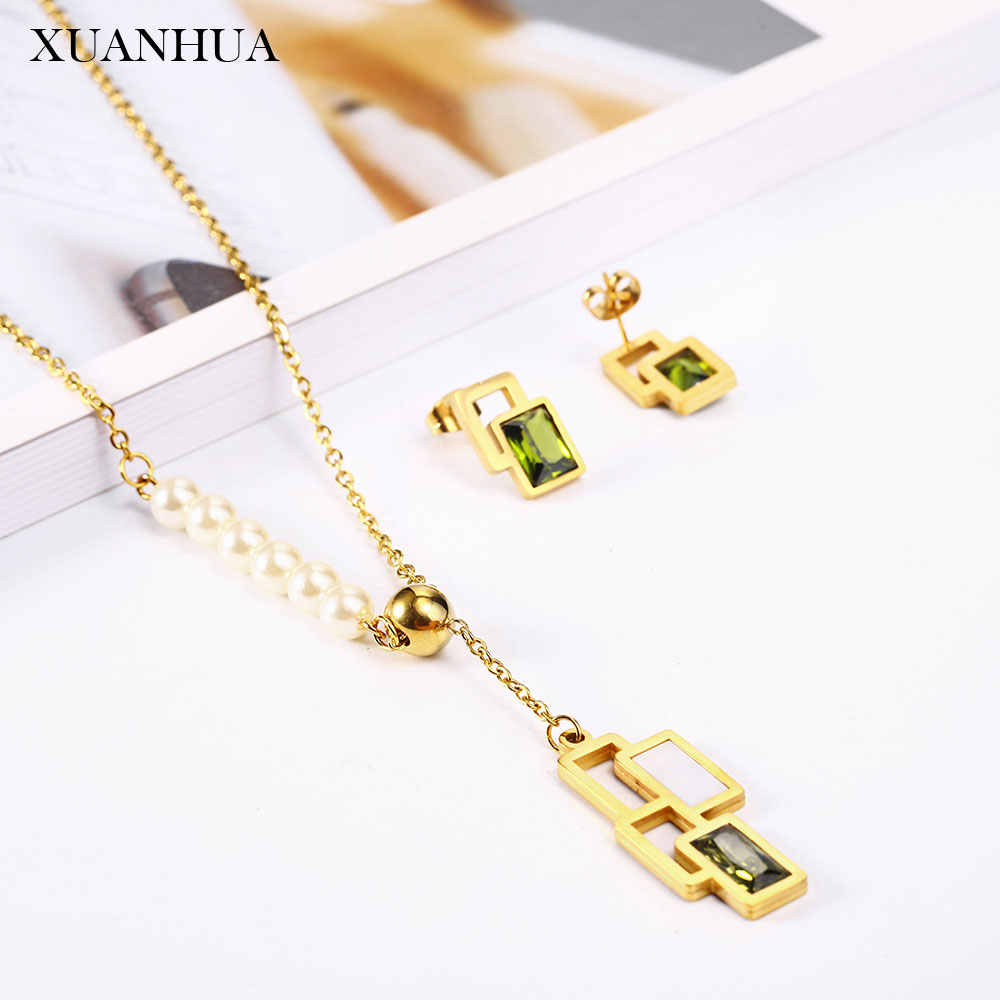 XUANHUA Jewelry Sets Stainless Steel Jewelry Woman Vogue 2019 Charm Necklace Earrings Set Fine Jewelry Accessories Bohemian