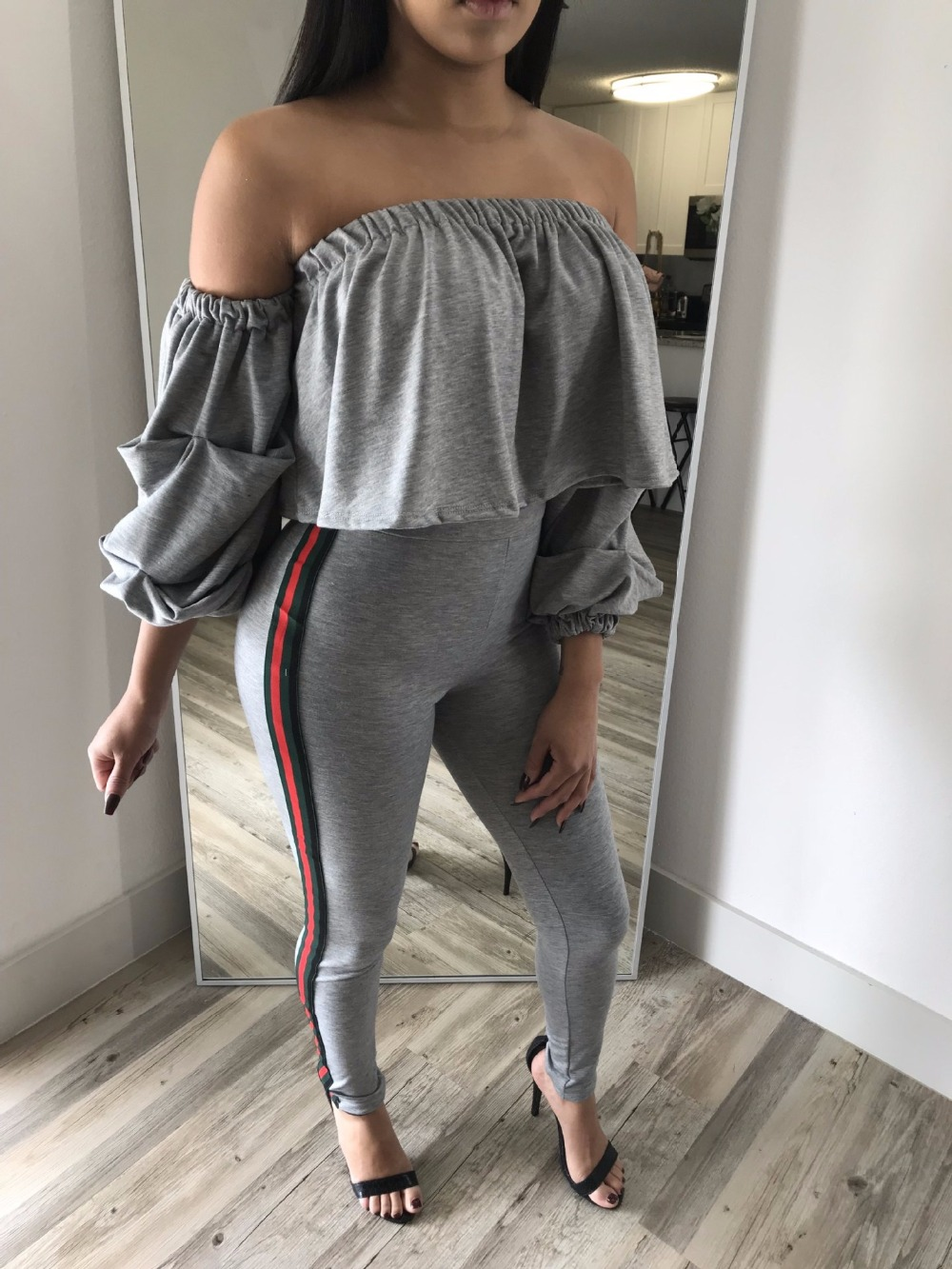 FGHGF 2017 Ruffle Bodycon Two Piece Set Womens Sexy Off Shoulder Side Striped Crop Top + Jogger Set 2-Piece Party Jumpsuit CY-13