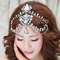 Bridal wedding tiara luxury frontlet semi-precious stones hairband three piece forehead tiara wedding hair accessories
