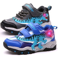 Dinoskulls Boys Sport Shoes LED 3D Dinosaur Kids Sneakers Light Up Autumn Children Trainers 2019 Glowing Child Tennis Shoes
