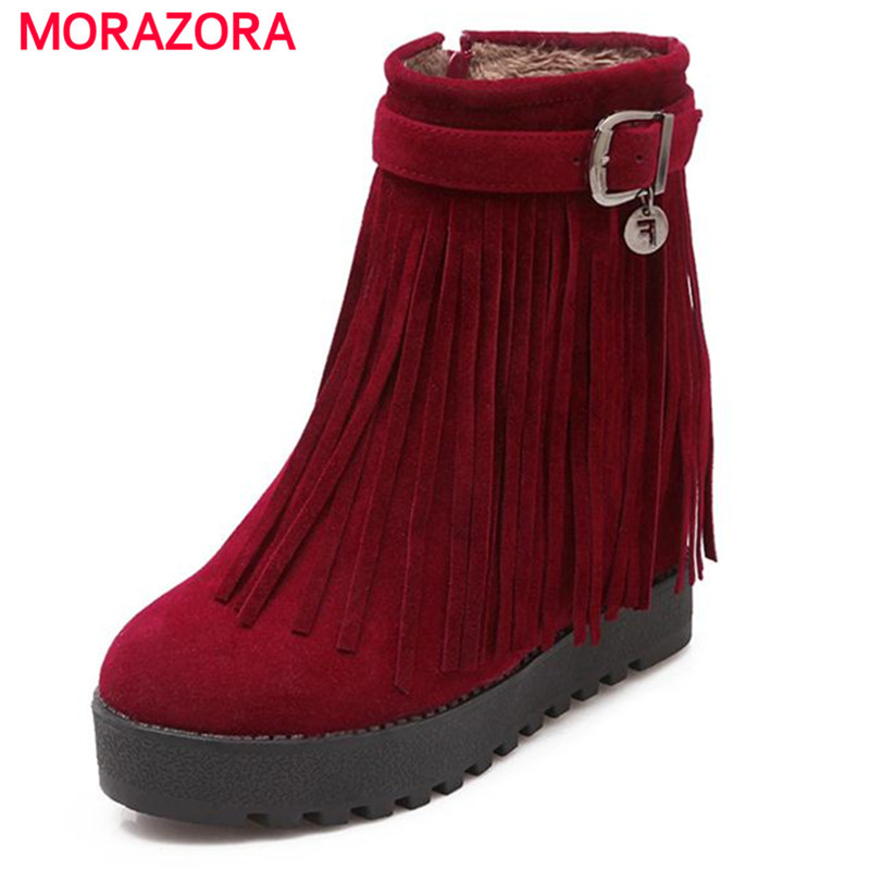 ФОТО MORAZORA Tassel solid ankle boots height increasing boots women zipper large size 43 platform boots in winter flock shoes