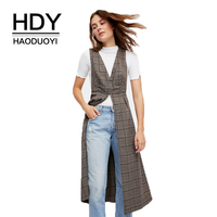 HDY Haoduoyi Plaid Women Casual Tank Tops BF Style Buttons Ruffled Female Vintage Elegant Vests V