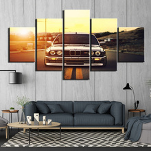 HD Printed 5 panels  Wall Art Frame Canvas Pictures Pieces Sports Car Sunset Automobile Painting Poster F3001
