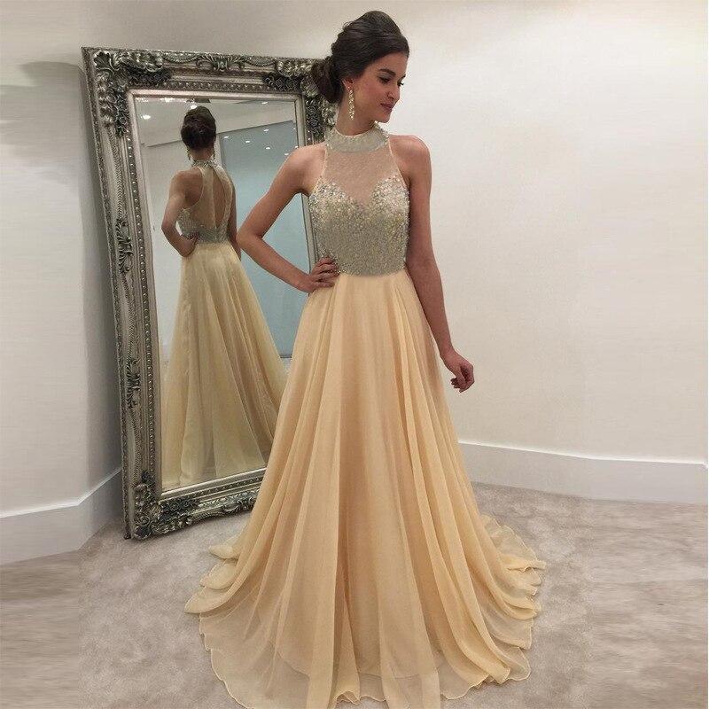 Sexy sleeveless Evening Dress Robe 2019 High Quality Sequin Chiffon Dresses elegant evening gown