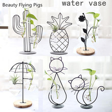 Home Party Decoration Vase Abstract Black Lines Minimalist Iron Dried Flower Racks Nordic Ornaments