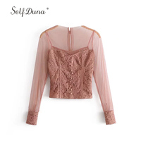 Self Duna 2018 Summer Women Lace Blouse Sexy Transparent Blouse Pink Black Patchwork Mesh Long Sleeve