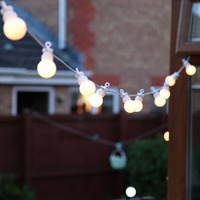 13M Connectable White Festoon Ball String Lights G40 Christmas Fairy Lights For Outdoor Patio Wedding Party
