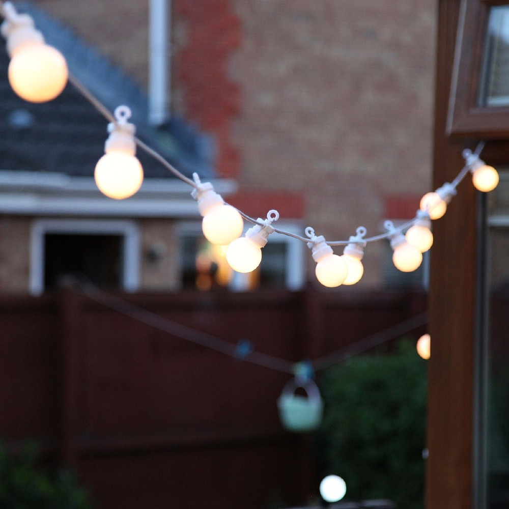 15M Connectable White Festoon string Light 20 Bulb G40 Christmas fairy lights for outdoor patio Wedding party Garland decoration