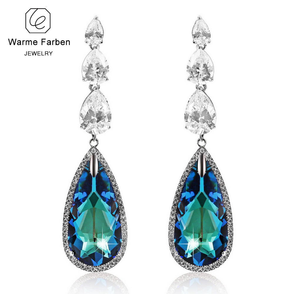 WARME FARBEN Crystal from Swarovski Earrings for Women Water Drop Crystal Dangle Earring Luxury Long Drop Earring Party Brincos цена 2017