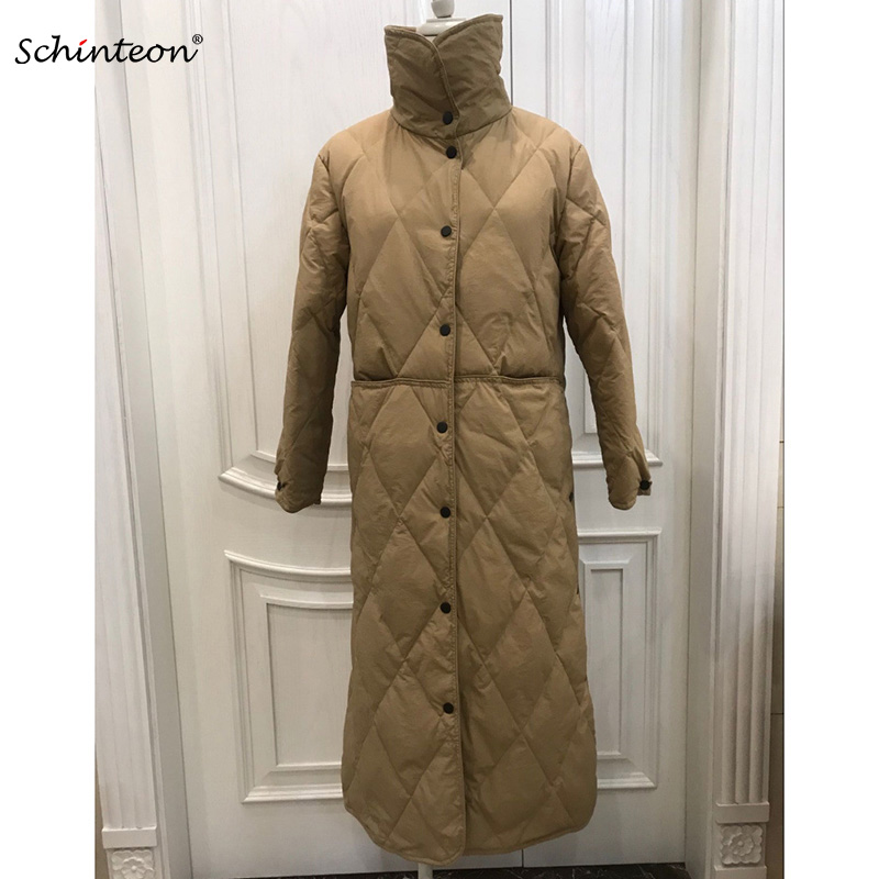 Schinteon White Duck Down Ultra Light Jacket Women Overknee Single Long Down Coat Outwear Autumn Winter Garment New Arrival
