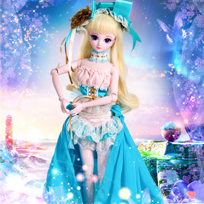 1/4  Large  Doll Toys Cosplay Rapunzel Dress Wig Clothes Shoes orinigal Makeup Fashion for bjd  Doll Princess Joints  For Girl