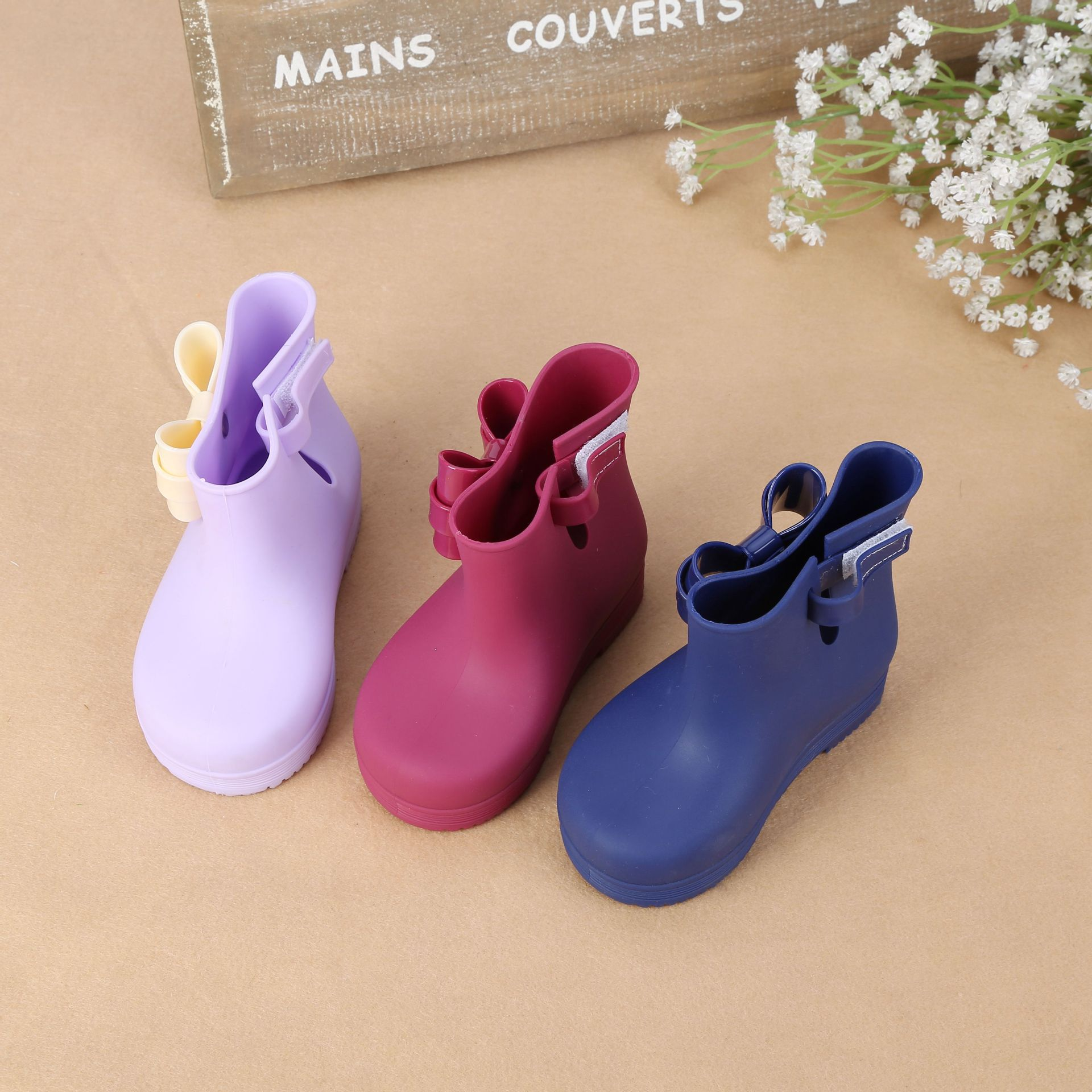 2017 Children Bow Boots Girls Candy Color Jelly Shoes Rain Boots Princess Shoes Anti Skid Soft