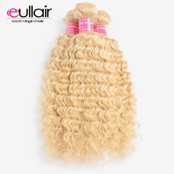 Indian Human Blonde Hair Bundles Deep Wave Hair#613 Remy hair Weaves Bundles Extension 1/3 Piece Bundles Deals Free Shipping