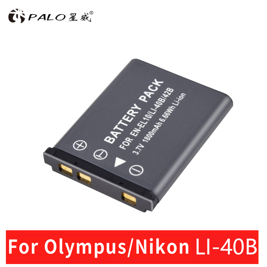 PALO 1PCS 1800mAh EN-EL10 EN EL10 LI-42B Li-40B LI42B 40B Camera Battery for nikon OLYMPUS U700 U710 FE230 FE340 FE290 FE360 3 7v rechargeable battery li 40b li 40b 42b for olympus li 42b lithium ion rechargeable camera battery pack 1200mah battery cell