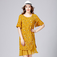 2017 European Design Plus Size Women Floral Print Yellow Chiffon Dress False Two Pieces Women S