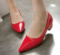 Candy Color Pointed Toe Japanned Leather Single Shoes Low Heels Small Yards 32 33 Plus Size