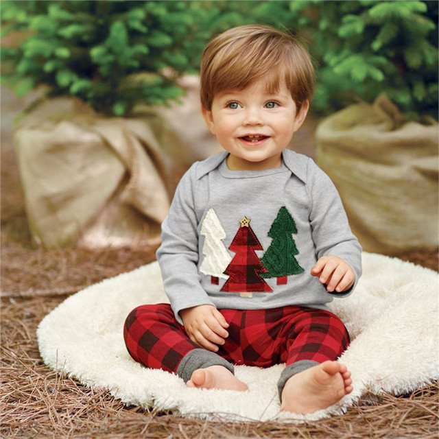 2016 Baby Boy Clothes Tree Set Baby Boy Girls Christmas Outfits Tops+Plaid  Pants 2pcs - 2016 Baby Boy Clothes Tree Set Baby Boy Girls Christmas Outfits Tops