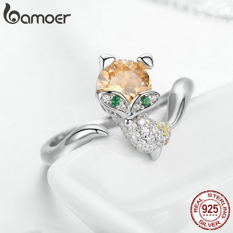 Image 5 - BAMOER Authentic 925 Sterling Silver Cute Crystal Fox Jewelry Set