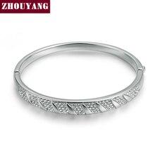 ZYB025 SimpleStyle Platino Plateado Brazalete de La Joyería Hecho con Genuino Cristales Austriacos Wholesale