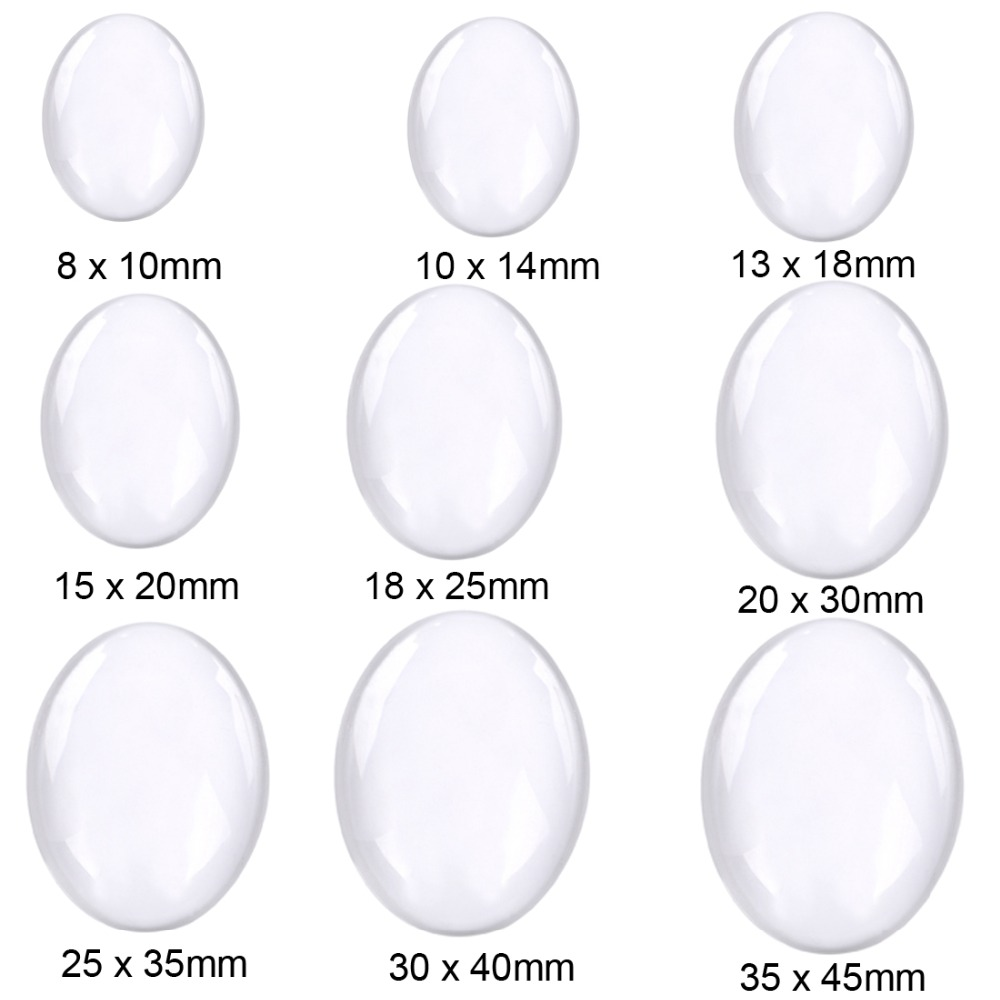 10pcs lot 30x40mm Oval Cabochons Transparent Glass Clear Flat Back for DIY Pendant Findings Jewelry Making Handmade Accessories in Jewelry Findings Components from Jewelry Accessories