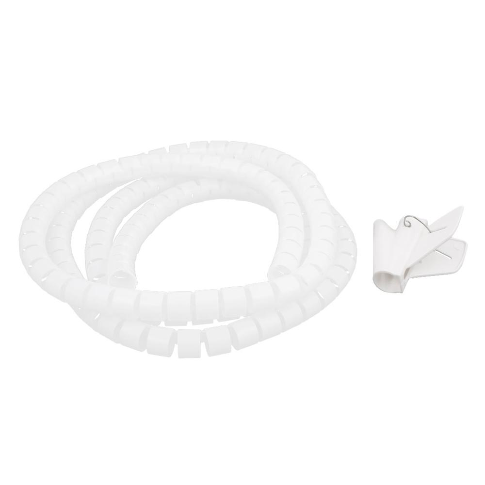 2m 20mm Diameter Spiral Wire Organizer Wrap Tube Flexible Manage Cord for PC Computer Home Bundling Hiding Cable w Clip White l1 5m d16 22 28mm spiral wire organizer wrap tube flexible management wire storage for pc computer cord protector cable winder