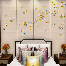 Decorative wallpaper series Modern concise style new Chinese style hand-painted ginkgo leaf background wall decorative painting(China)