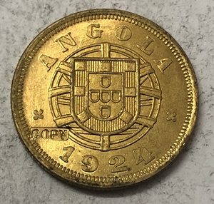1924 Angola 5 Centavos Brass Coin(China)