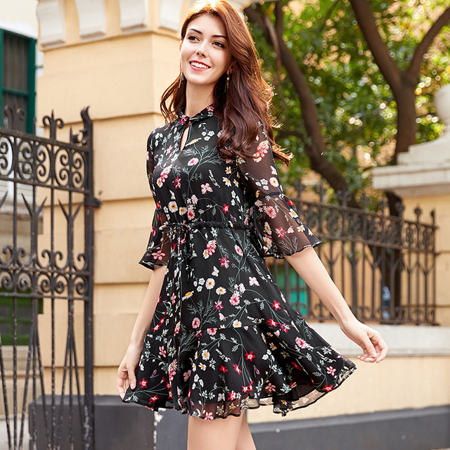 2018 New Summer Spring Women Dress Half Sleeve Print Chiffon Cui Flower Dresses Red Black 305