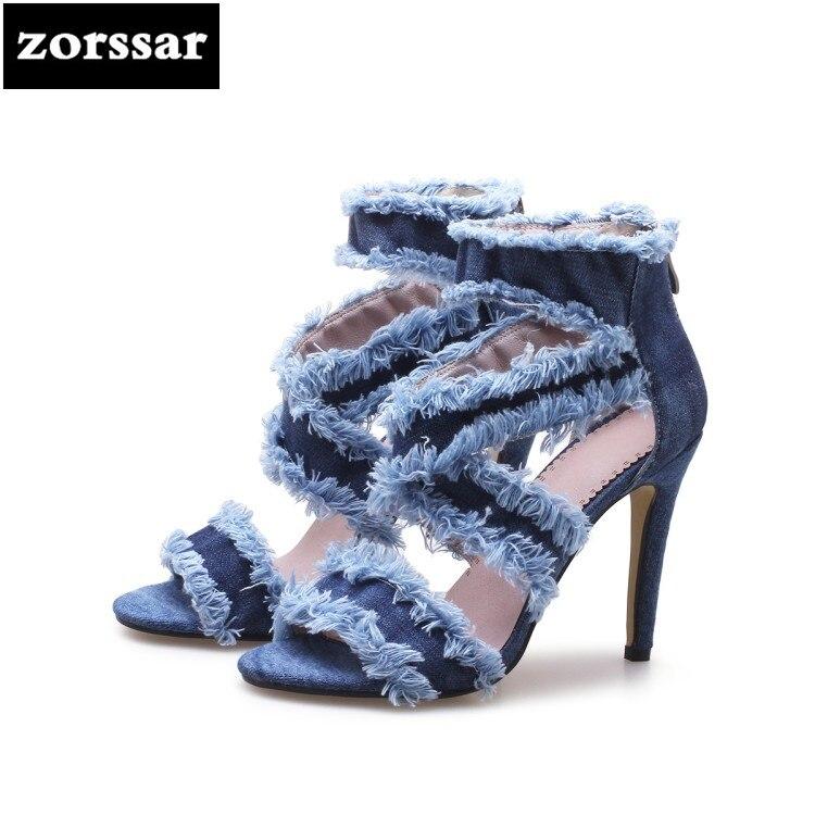 {Zorssar} 2018 mode denim chaussures peep toe mince talon sandales chaussures d'été chaussures femme talons hauts gladiateur sandales grande taille 43