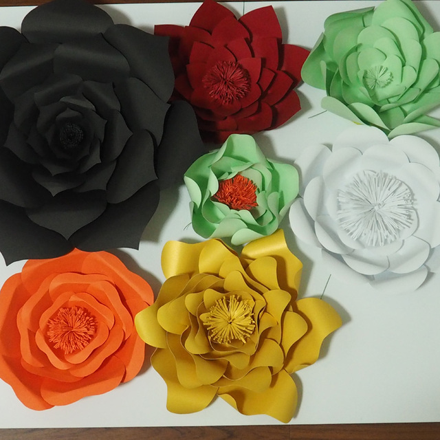 7pcs set cardstock giant paper flowers for wedding backdrops windows 7pcs set cardstock giant paper flowers for wedding backdrops windows display mix colors and sizes mightylinksfo