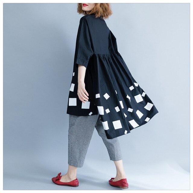 c1c33544 Women Tunics Plus Size Tops Long Sleeve Asymmetrical Black Peplum Top  Original Geometrical Print Long Blouse Shirt