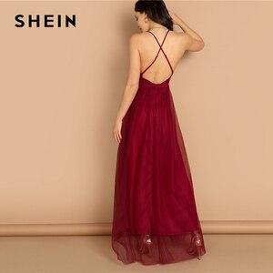 Image 3 - SHEIN bourgogne col plongeant entrecroisé dos Cami robe Maxi plaine Sexy nuit Out robe automne moderne dame femmes robes de fête