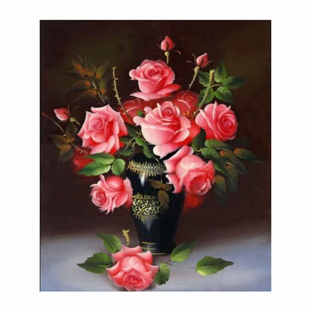 3D 5D DIY Diamond Painting Red Flower Vase Rhinestone Cross Stitch Kits Diamond Embroidery Needlework Set Cheap 40*48cm