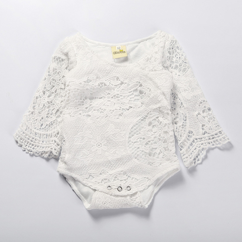 2018 Rushed Limited Cotton Baby Girls Solid Covered Button Full Baby Girl Lace Hook Flower Bat Sleeves Body Piece Clothing ...