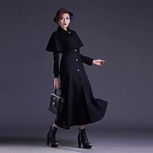 2016 Autumn and Winter New Fashion Solid Color Ultra Long Overcoat Single Breasted Wool Cape Shawl Coat Fur Collar Outwear S-4XL