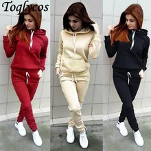 Brand New 2 Piece Set Women Hoodies Pant Clothing Set Warm Newest Clothes Ladies Solid Tracksuit Women Set Top Pants Suit 87(China)