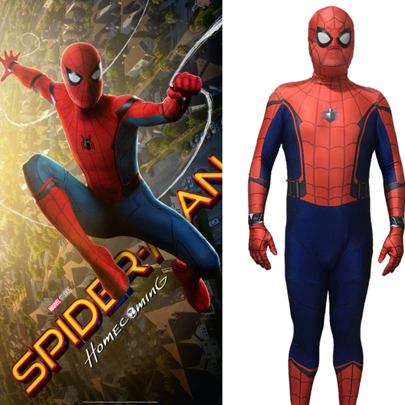 NEW!Homecoming Spiderman Costume 3D Printed Cosplay Zentai Suit Home coming Spider-Man Coser Costume Custom Made
