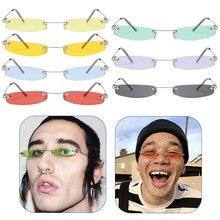 Vintage Sunglasses Women Small Narrow Sun Glasses Retro Rectangle Brand Designer Male Female Rimless Shades Eyewear