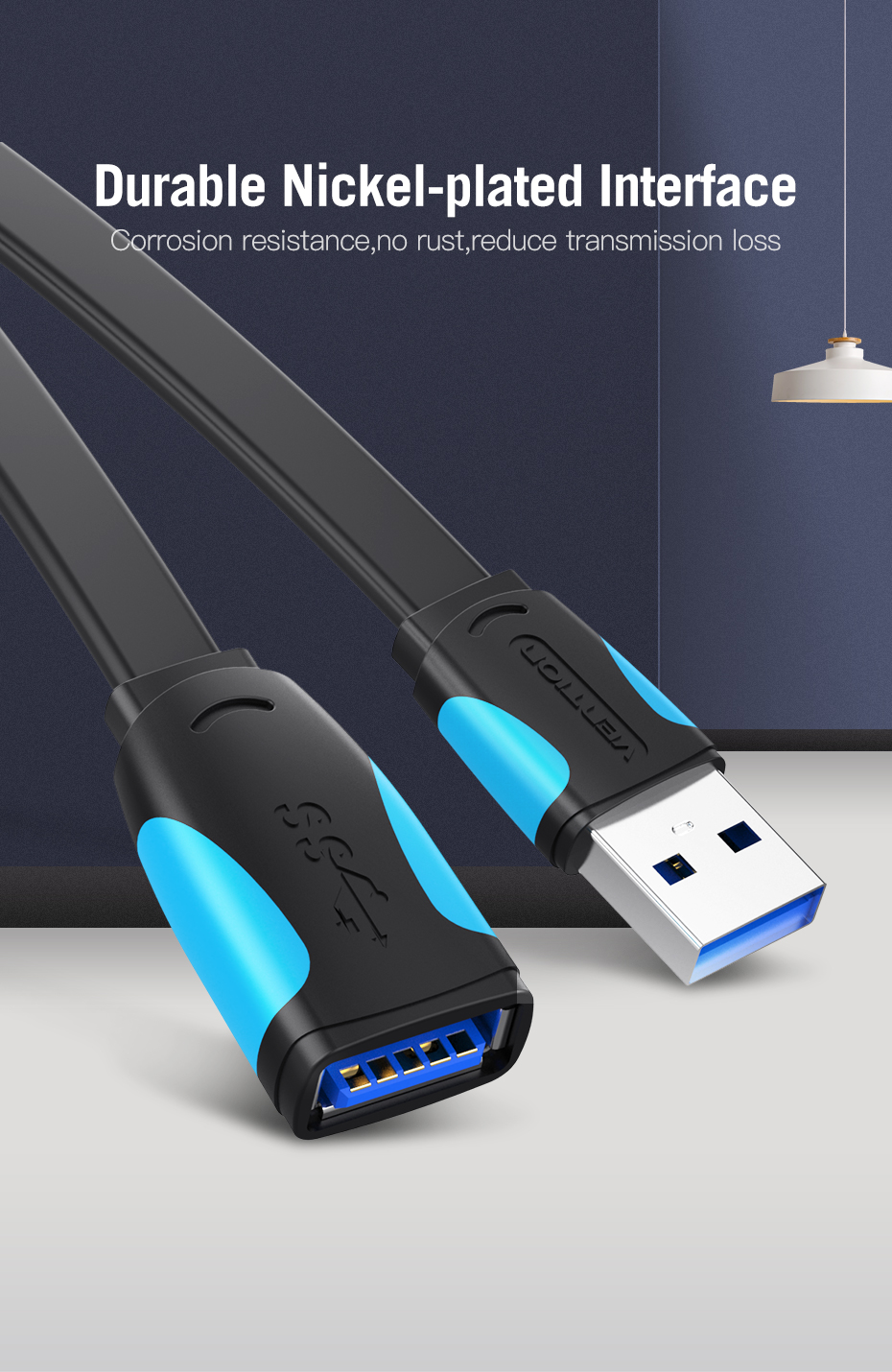 Vention Mini USB 2.0 3.0 Extension Cable Male to Female Extender Laptop PC Mobile 7